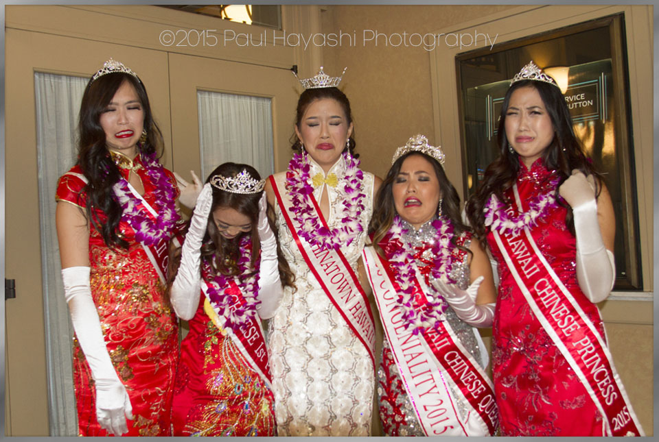 2015 MCH Court Final Reception Line lamenting that it's their last official night as a court - 2016 Miss Chinatown Hawaii/Miss Hawaii Chinese Scholarship Pageant - ©2015 Paul Hayashi Photography - All Rights Reserved