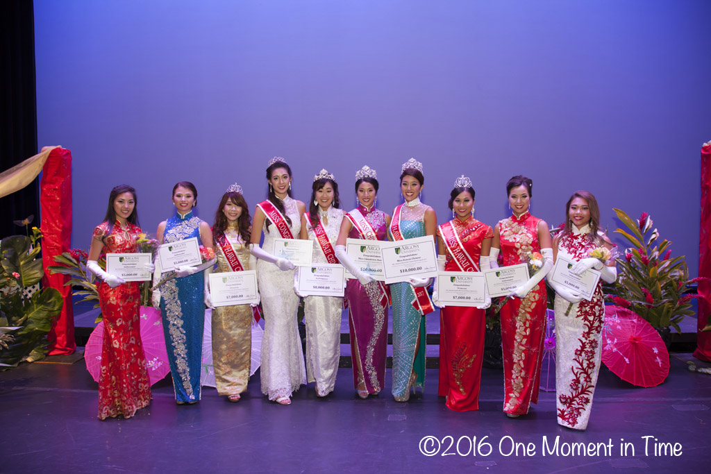 All Contestants with their Argosy University Scholarships - Miss Chinatown Hawaii/Miss Hawaii Chinese Scholarship Pageant - ©2017 One Moment in Time Photography