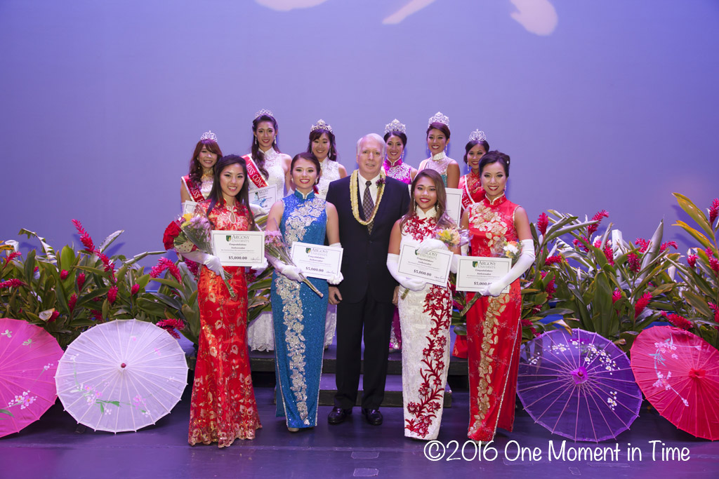 All Contestants with Argosy University President Dr. Warren Evens - Miss Chinatown Hawaii/Miss Hawaii Chinese Scholarship Pageant - ©2017 One Moment in Time Photography