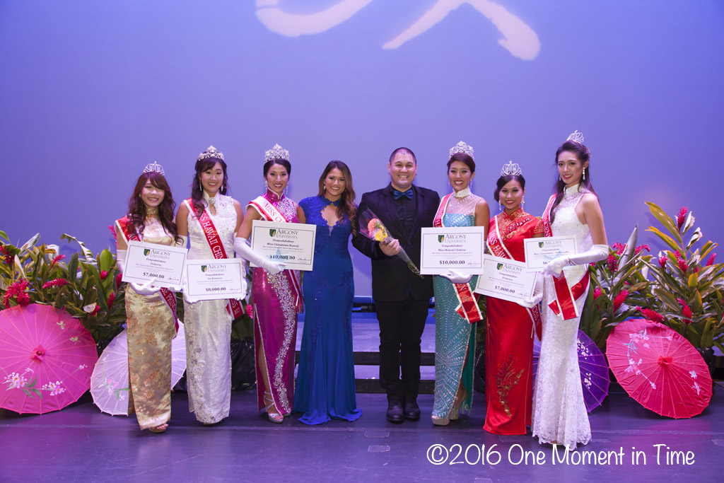 With Emcees Crystal Montrone (MCH 2013) and Kaulana Chang - Miss Chinatown Hawaii/Miss Hawaii Chinese Scholarship Pageant - ©2017 One Moment in Time Photography